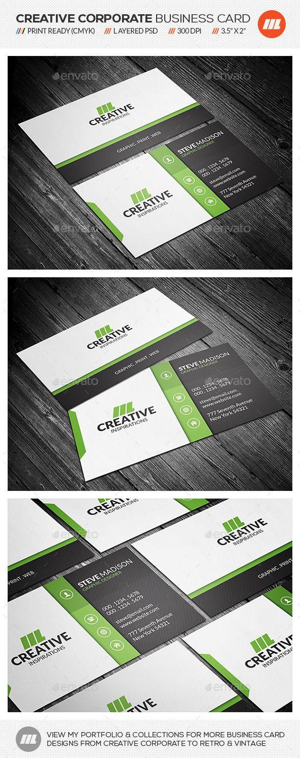 Modern Corporate Business Card CS 35x2 Black Call Clean Creative Dark Design Green Horizontal