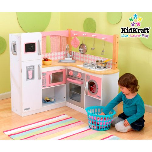 KidKraft Grand Gourmet Corner Kitchen Play Set, Deluxe Kitchen Play Set, Wooden Play Kitchen, Children?s Play Kitchen