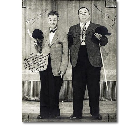 Laurel and Hardy Autographed Photo 1947