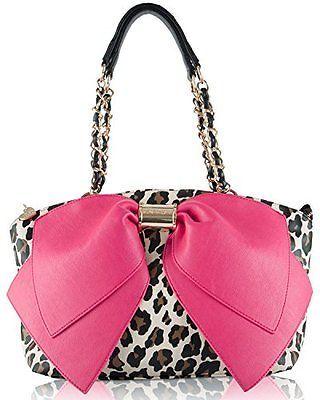 Betsey Johnson Satchel Bj55235p Bownanza Large Fuschia Bow Leopard Shoulder Bag