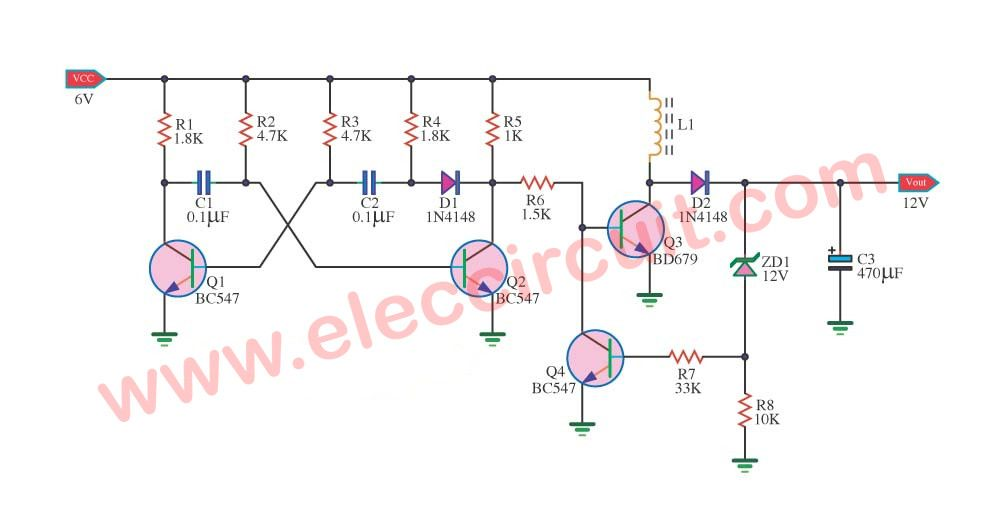 Simple 6v To 12v Boost Converter Circuit Using Bd679 Basic Electronic Circuits Electronics Circuit Circuit