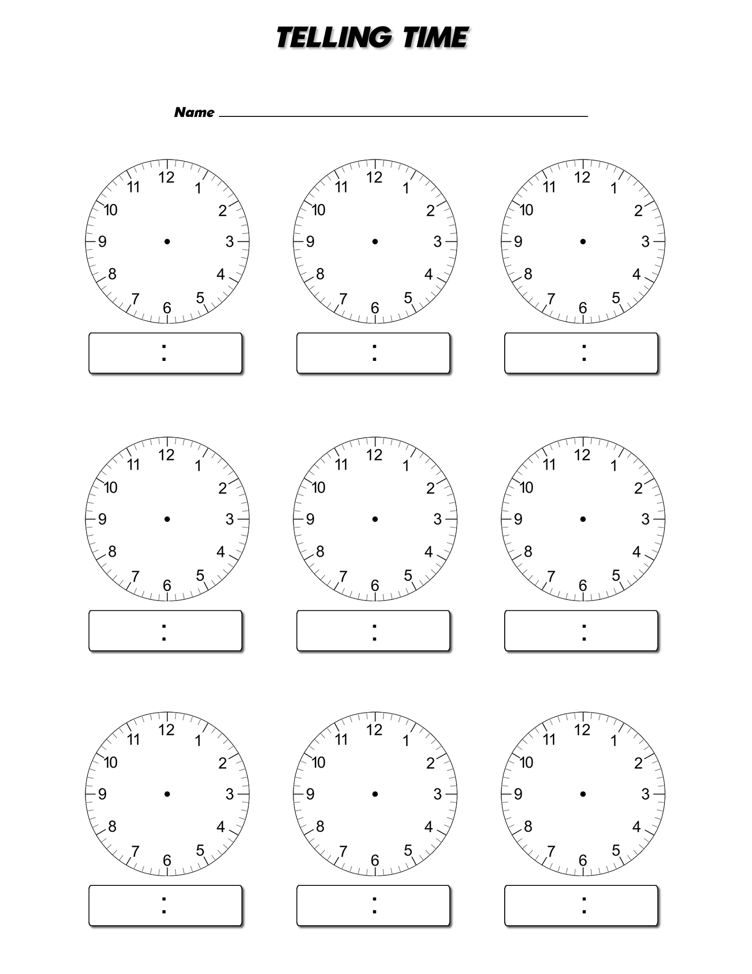 Simplicity image within blank clock printable