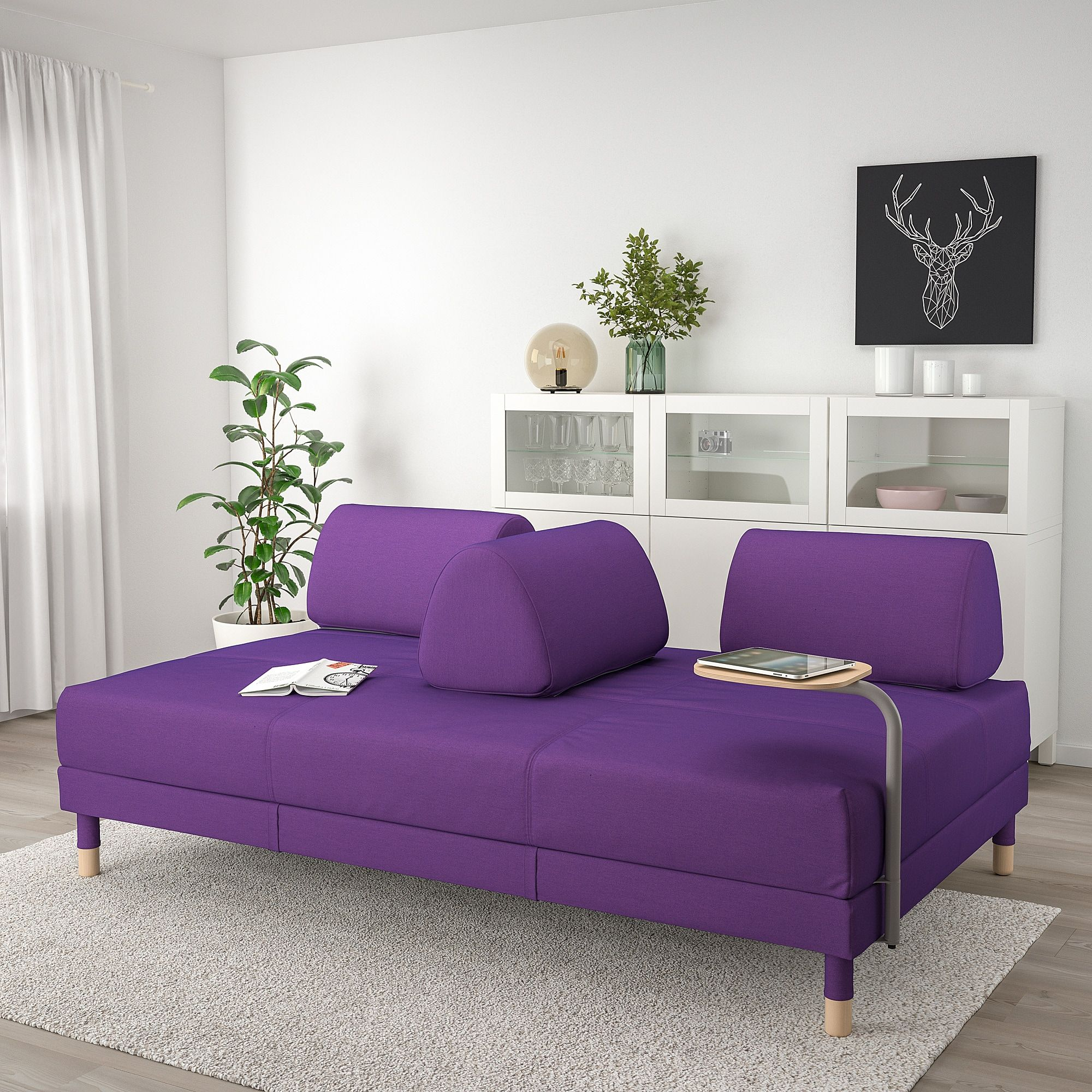 Flottebo Sleeper Sofa With Side Table Vissle Purple 47 1 4 120 Cm Sleeper Sofa Sofa Sleeper Sofa Mattress