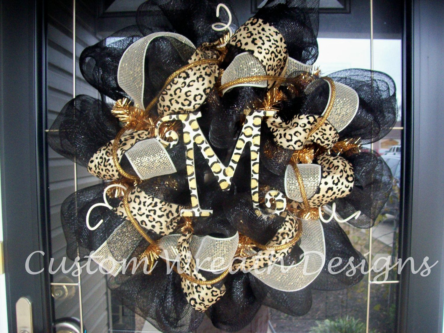 Black and Leopard Monogram Mesh Wreath by lilmaddy12 on Etsy, $85.00