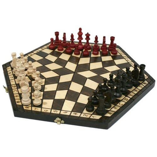 Superb 3 Player Large Wood Chess Set   Chess House