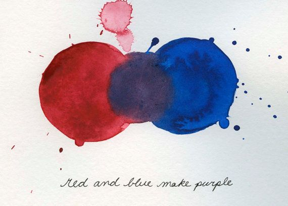 Mixing Colors Red And Blue Make Purple Print From Original Watercolor Painting 5x7 On Etsy