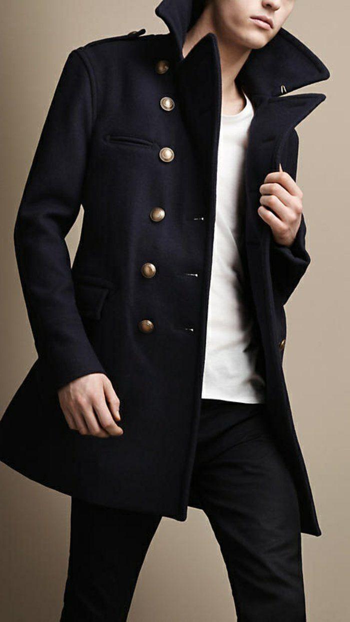 Manteau Homme Bleu Foncé Noir Laine Luxe Fashion en Ligne