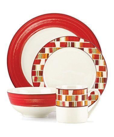 Love this Julia Street Red 16-Piece Dinnerware Set on #zulily! #zulilyfinds  sc 1 st  Pinterest & Emeril Julia Street Red 16-Piece Dinnerware Set | Dinnerware Bold ...