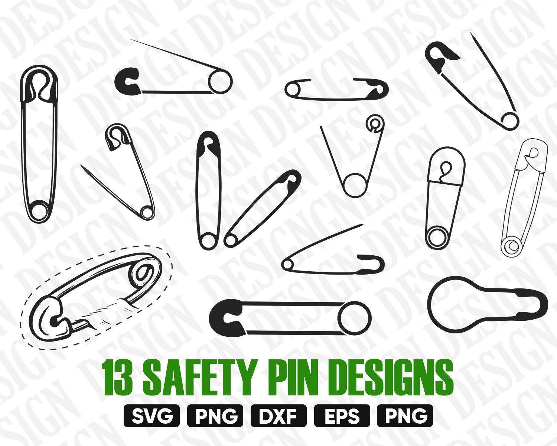 Safe Pin Svg Safety Pin Vector Safety Pin Clipart Safety Pin Silhouette Safety Pin Png Safety Pin Design Safety Pin Stencil Iron On In 2021 Safety Pin Clip Art Svg