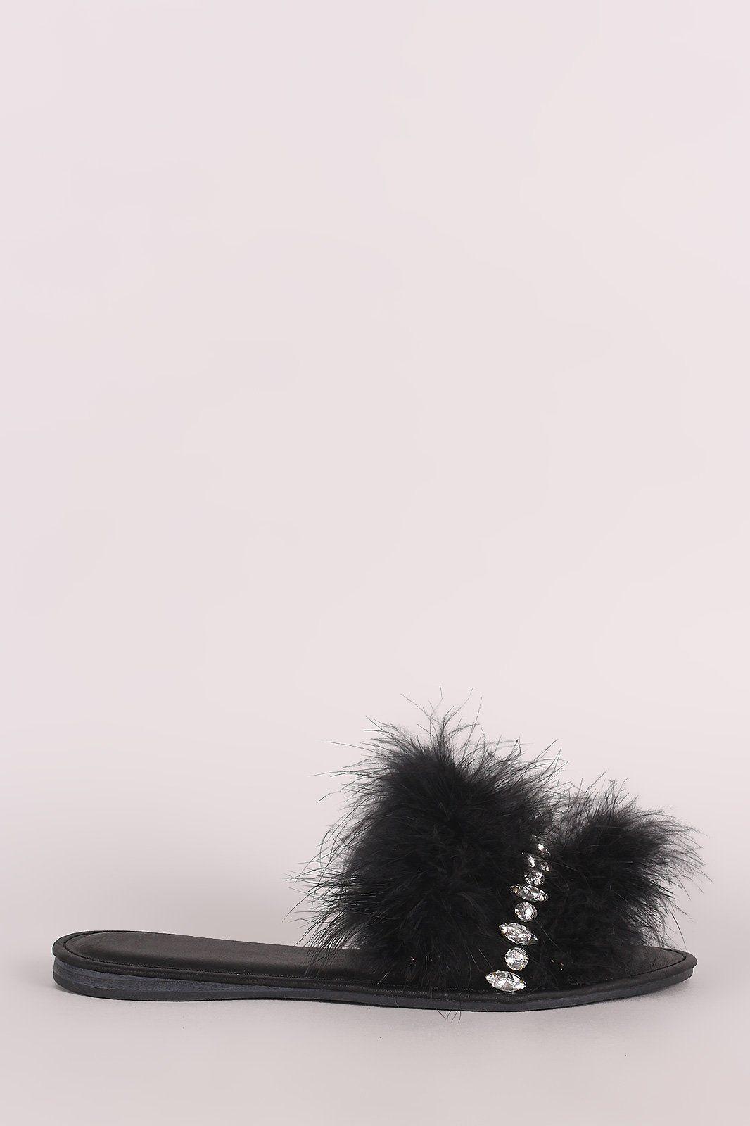 Bamboo Jewel Embellished Faux Feather Slide Sandal