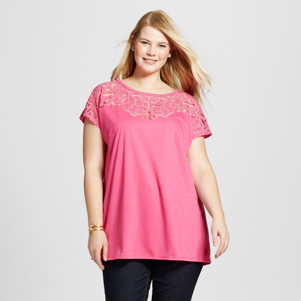 51f87a0a98a Women s Plus Size Cold Shoulder Burnout T-Shirt - Ava   Viv ...
