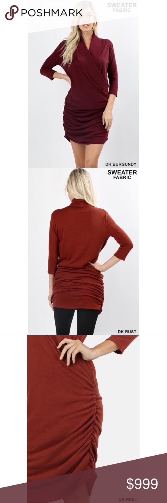 sleeve sweater wrap dress dark burgandy zenana outfitters