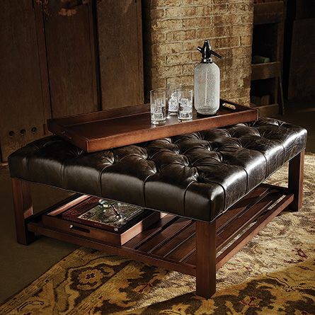 Butler Leather Cocktail Ottoman Leather Ottoman Padded Coffee Table Tufted Leather Ottoman