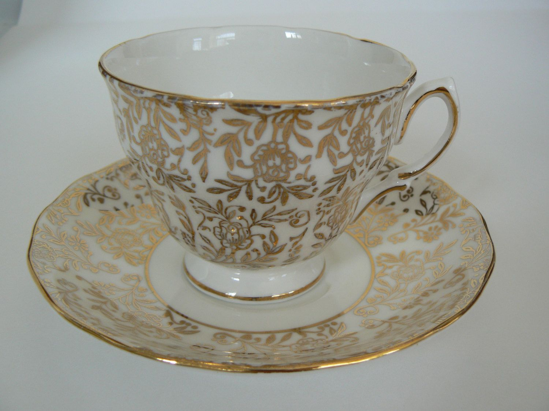 Royal albert bone china tea cup amp saucer winsome pattern ebay - Vintage Ridgway Royal Vale Gold Floral Pattern Teacup Saucer Bone China England