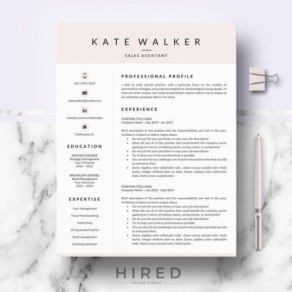 Professional Resume, CV template for Ms Word  Mac Pages; Resume, cv - Retail Management Cover Letter