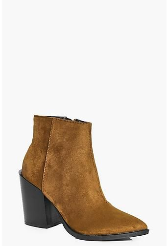 Frances Pointed Block Heel Ankle Boot
