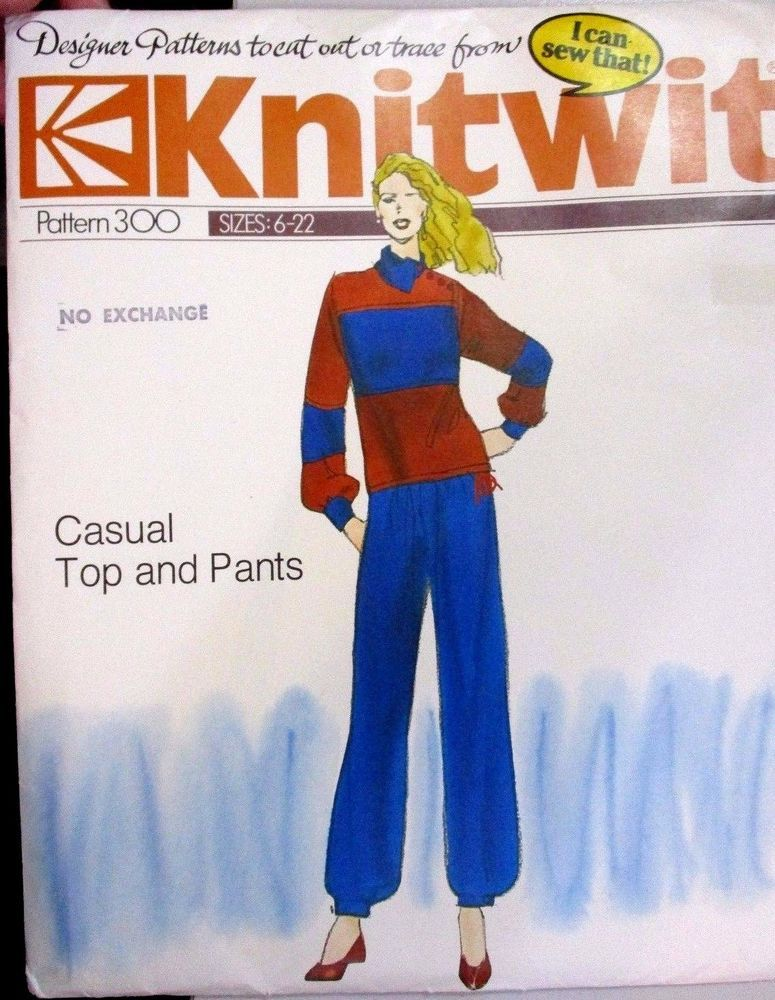 Knitwit sewing pattern no.300 ladies track suit size 6-22   Track suits