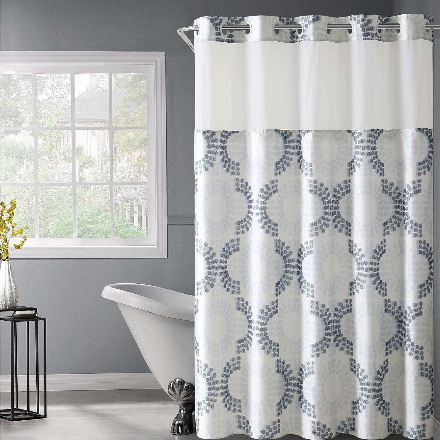 Hookless Stamped Gate Shower Curtain Snap In Liner Hookless Shower Curtain Curtains Shower Curtain