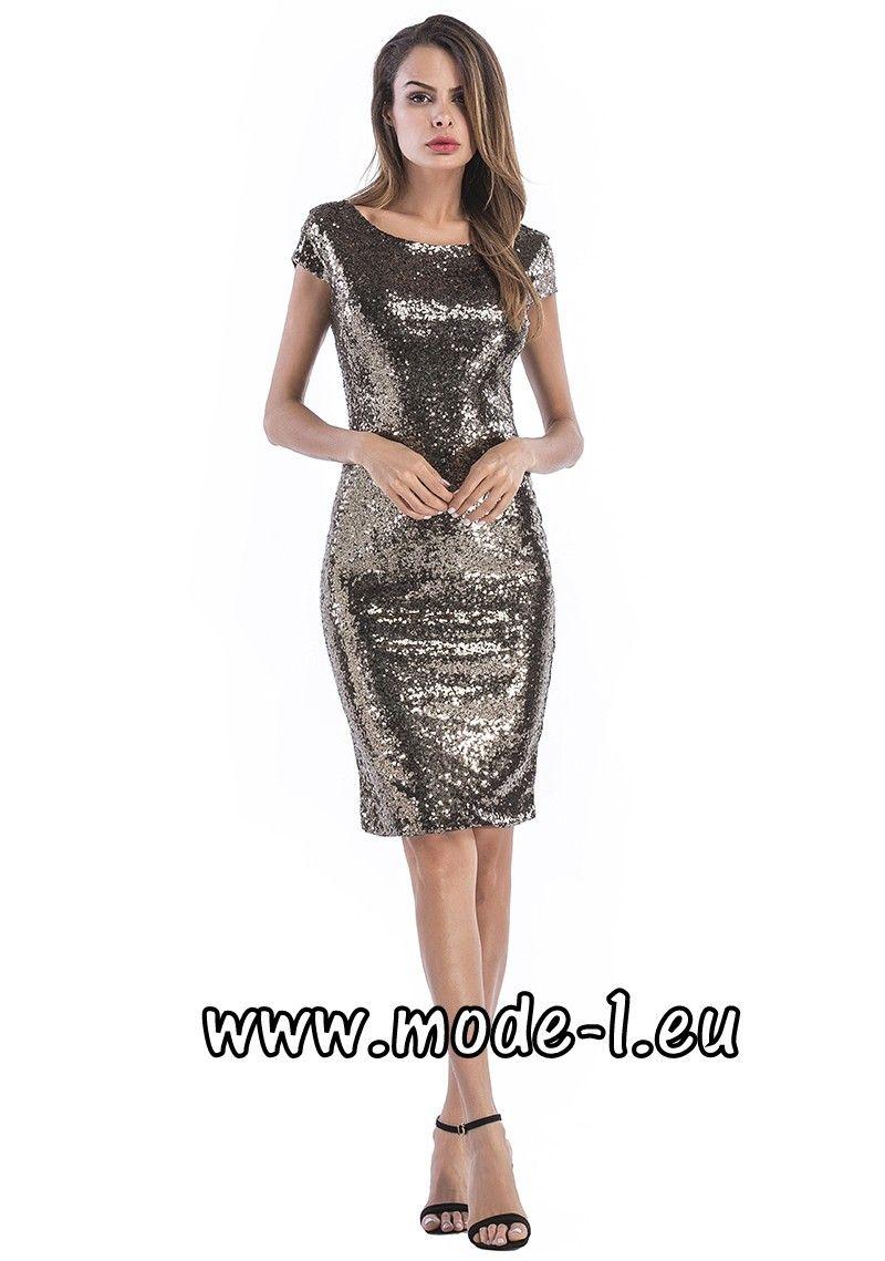 Knielanges Pailletten Kleid 16 in Glitzer Silber  Pailletten