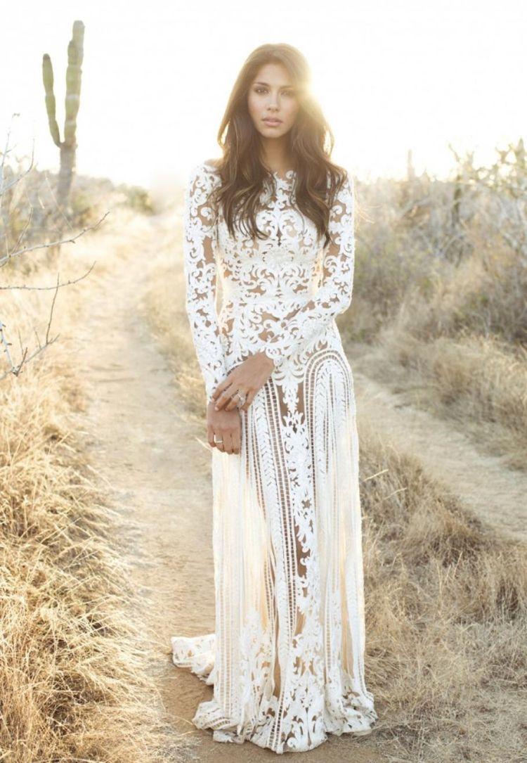 Boho Chic Brautkleid mit langen Ärmeln | Hochzeit | Pinterest | Boho