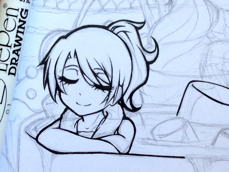 Tutorial How To Ink Manga Drawings Manga Drawing Chibi Drawings Drawings