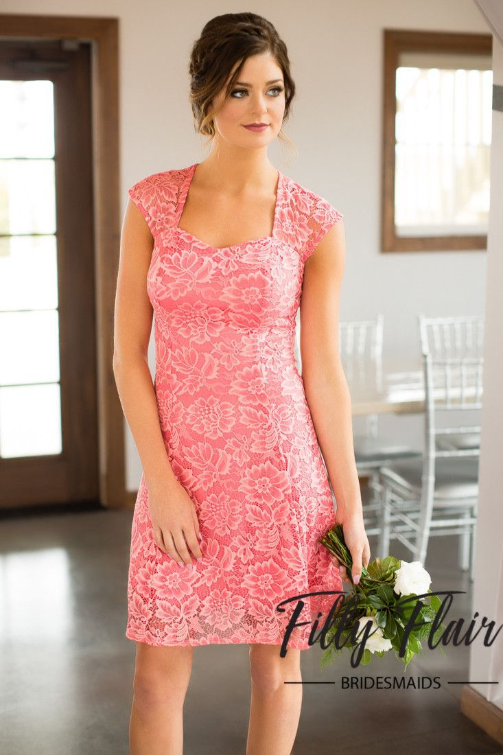 Celeste bridesmaid dress in coral favorite the day