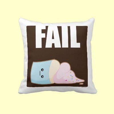 Fail Throw Pillow by kimchikawaii #fail #kimchi kawaii #kawaii #cute #sad #cupcake