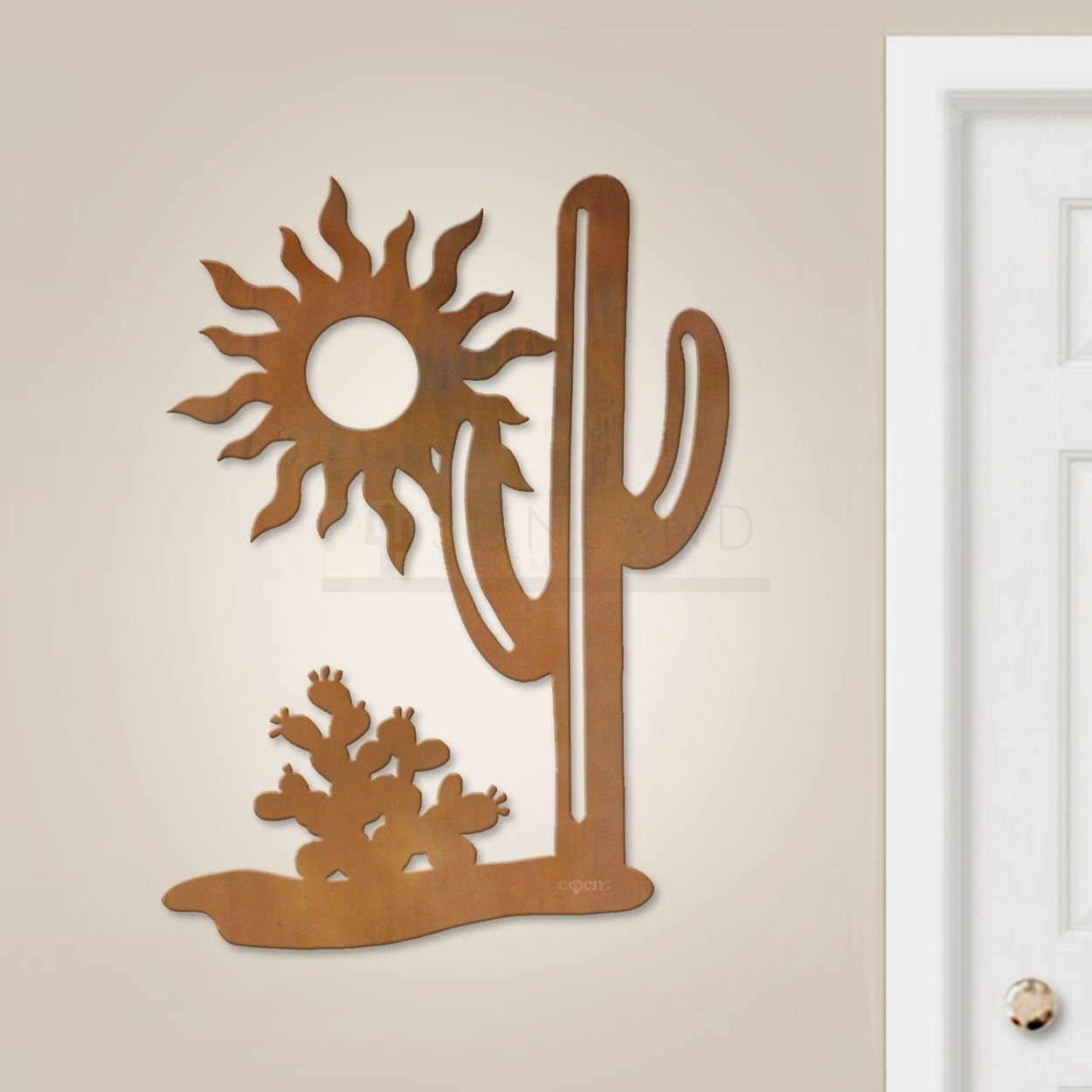 Cold Nose Creations Brings You This Original Southwest Cactus Scene 36in Vertical Large Metal Wall Art Large Metal Wall Art Wall Hanging Designs Metal Wall Art