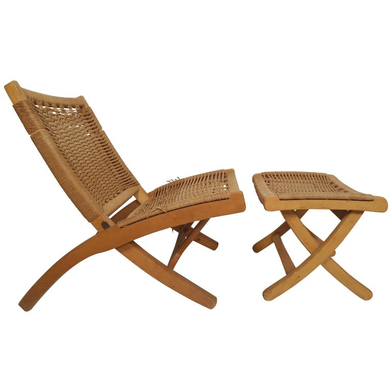 Fabulous Hans J Wegner Wood Folding Rope Mid Century Modern Chair In Ocoug Best Dining Table And Chair Ideas Images Ocougorg