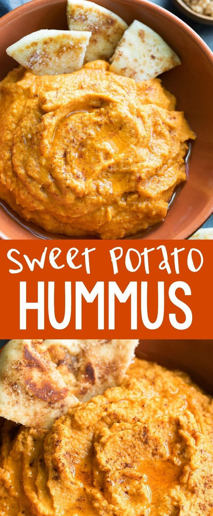 Sweet Potato Hummus with Cinnamon Sugar Flatbread Sweet Potato Hummus kissed with pumpkin spice seasoning and served with the most amazing cinnamon sugar flatbread dippers. We're pretty excited to eat this sweet and savory hummus all Fall long!