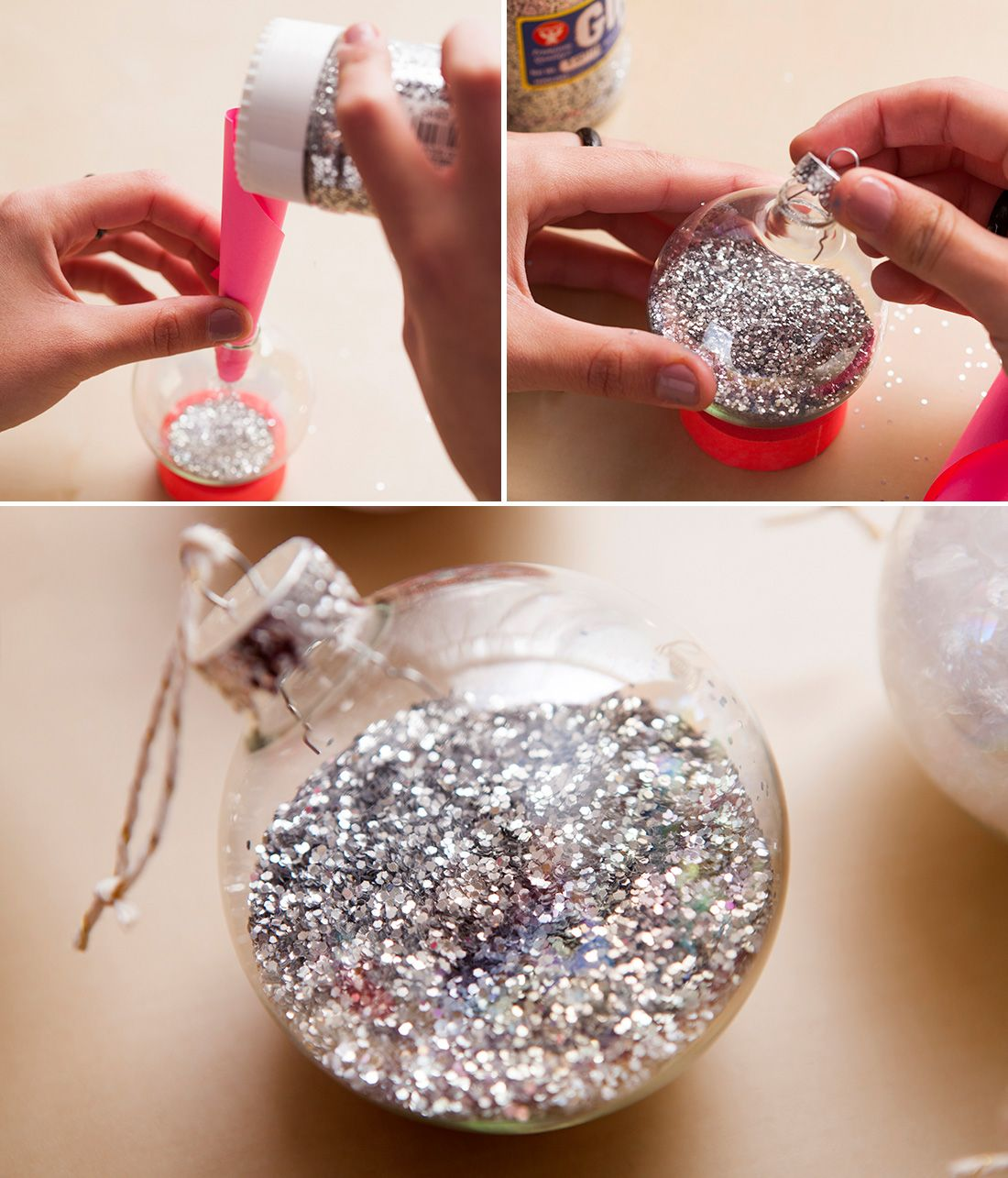 Clear glass craft ornaments - Fill A Clear Ornament With Silver Glitter To Make This Festive Tree Topper
