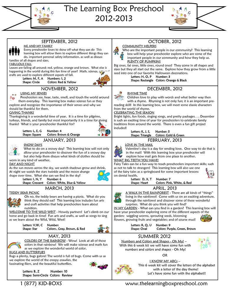Preschool Curriculum By Month  Jellybean Island