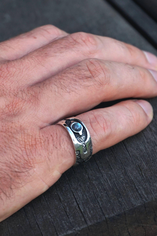Labradorite Ring | Mens Ring | Sterling Silver Ring \