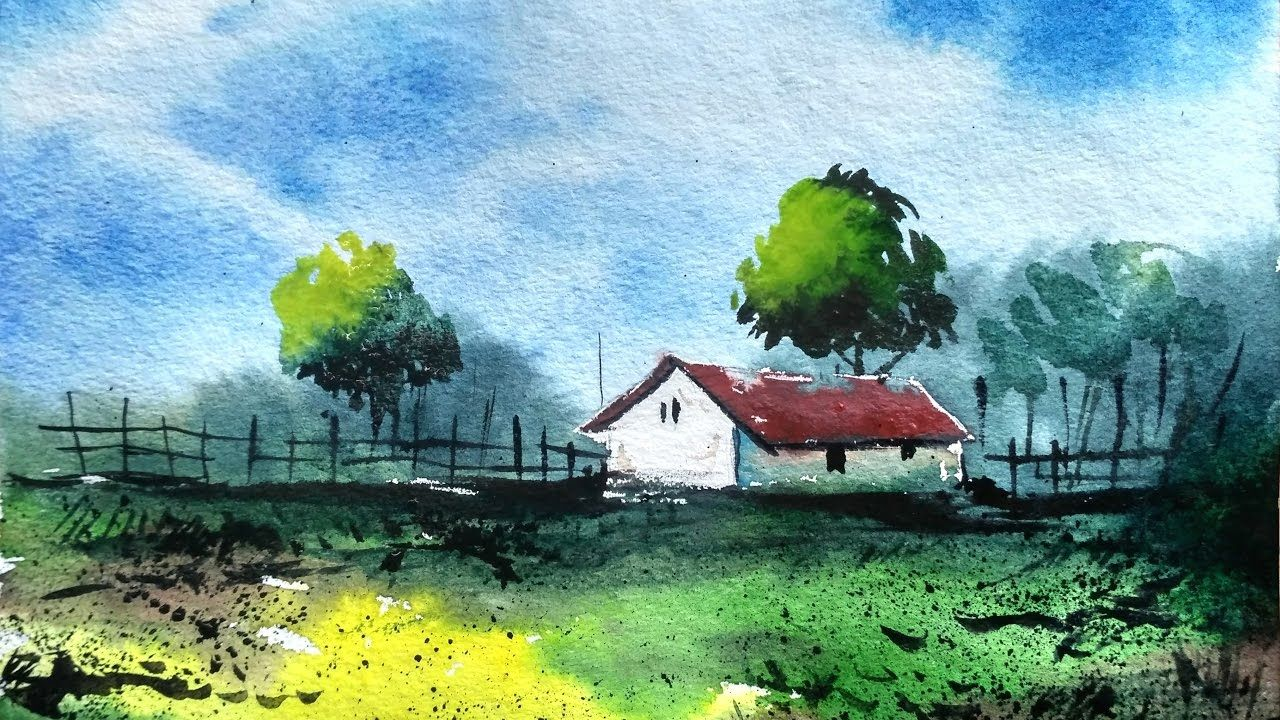 Simple Watercolor Landscape Painting For Beginners Paint With Da