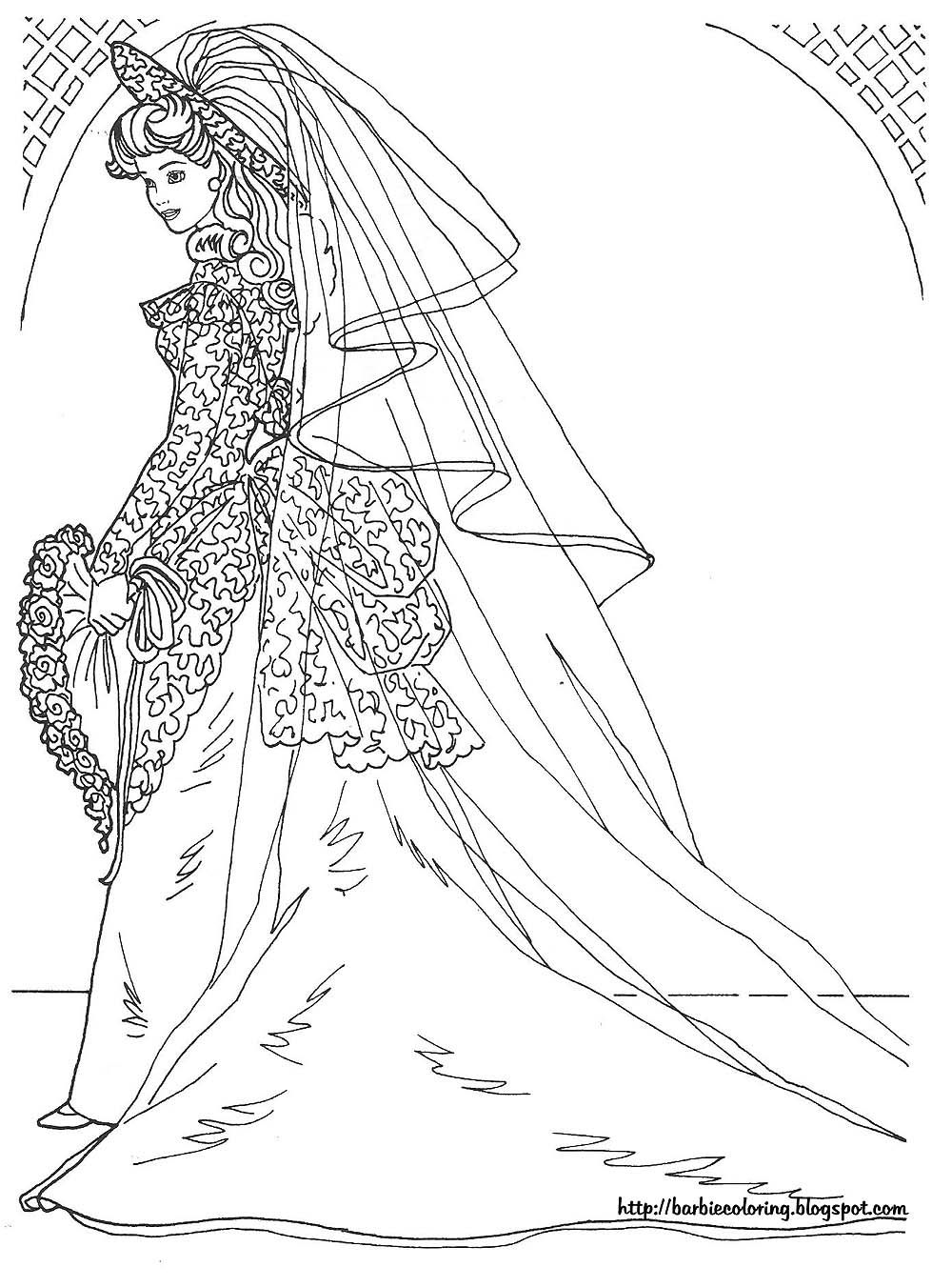 Free Coloring Pages Download Barbie Wedding Dress Of