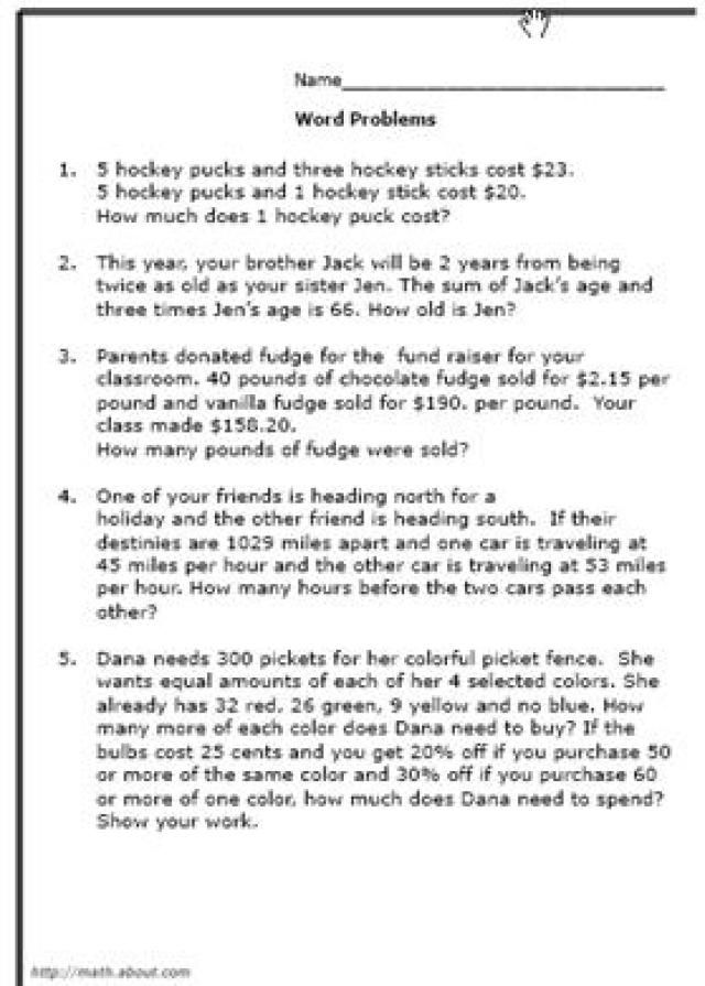 What Are Some Good Math World Problems for 8th-Graders? Math - order of operations worksheet