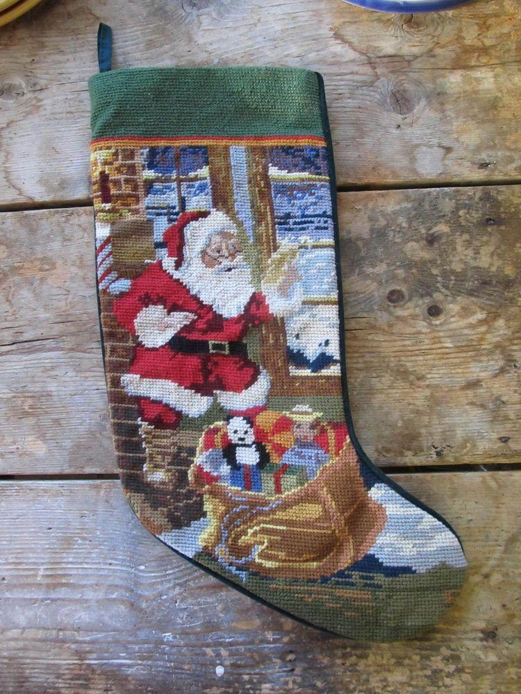 FINISHED NEEDLEPOINT CHRISTMAS STOCKING WITH SANTA DESIGN