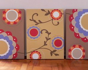 Trio de Telas Floral Colours III 50x70cm