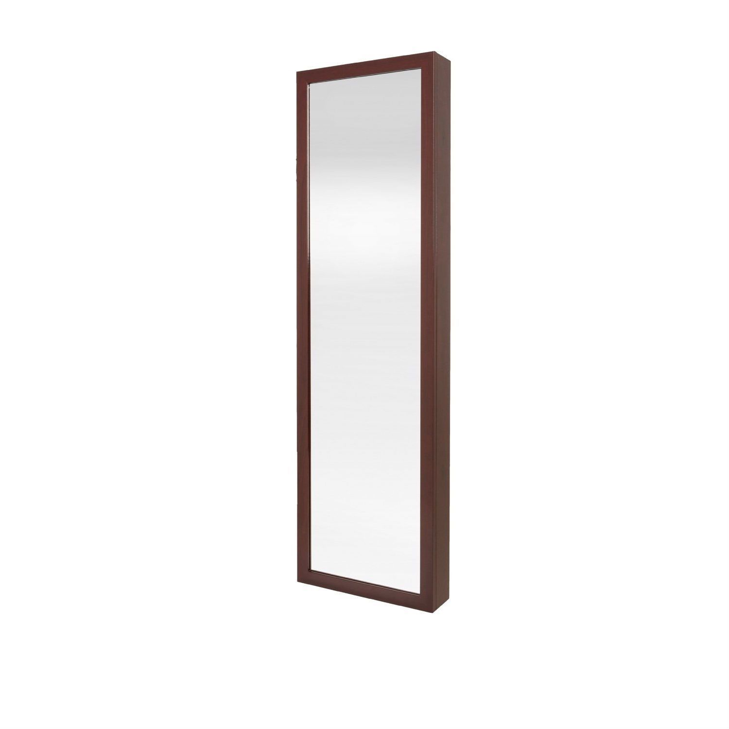 Beau Wall / Door Mount Jewelry Armoire / Full Length Mirror In Cherry Finish