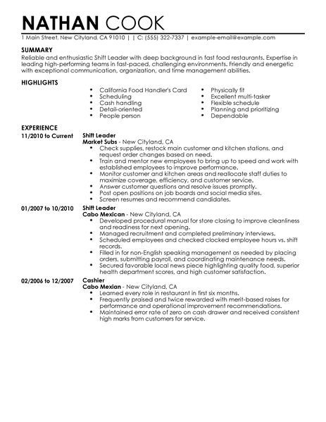 shift leader resume example restaurant amp bar sample resumes - live carreer