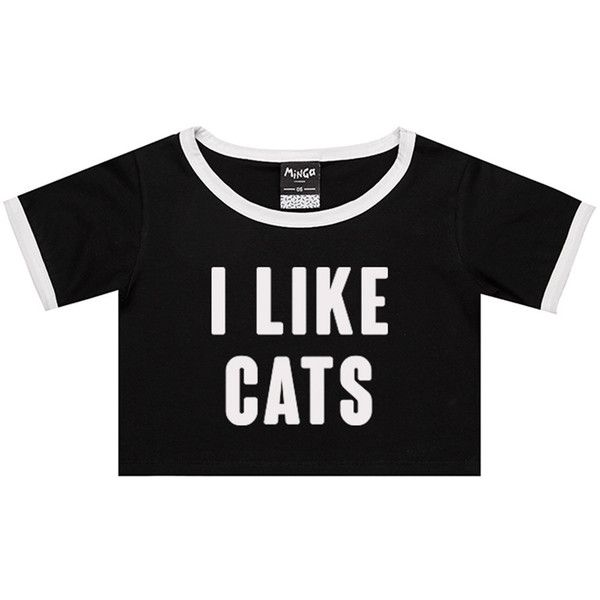 Cats Ringer Tee Crop Top T Shirt Womens Girl Funny Fun Tumblr Hipster Swag Grunge Kale Goth New Retr Cat Tee Shirts Colorful Crop Tops Hipster Tops