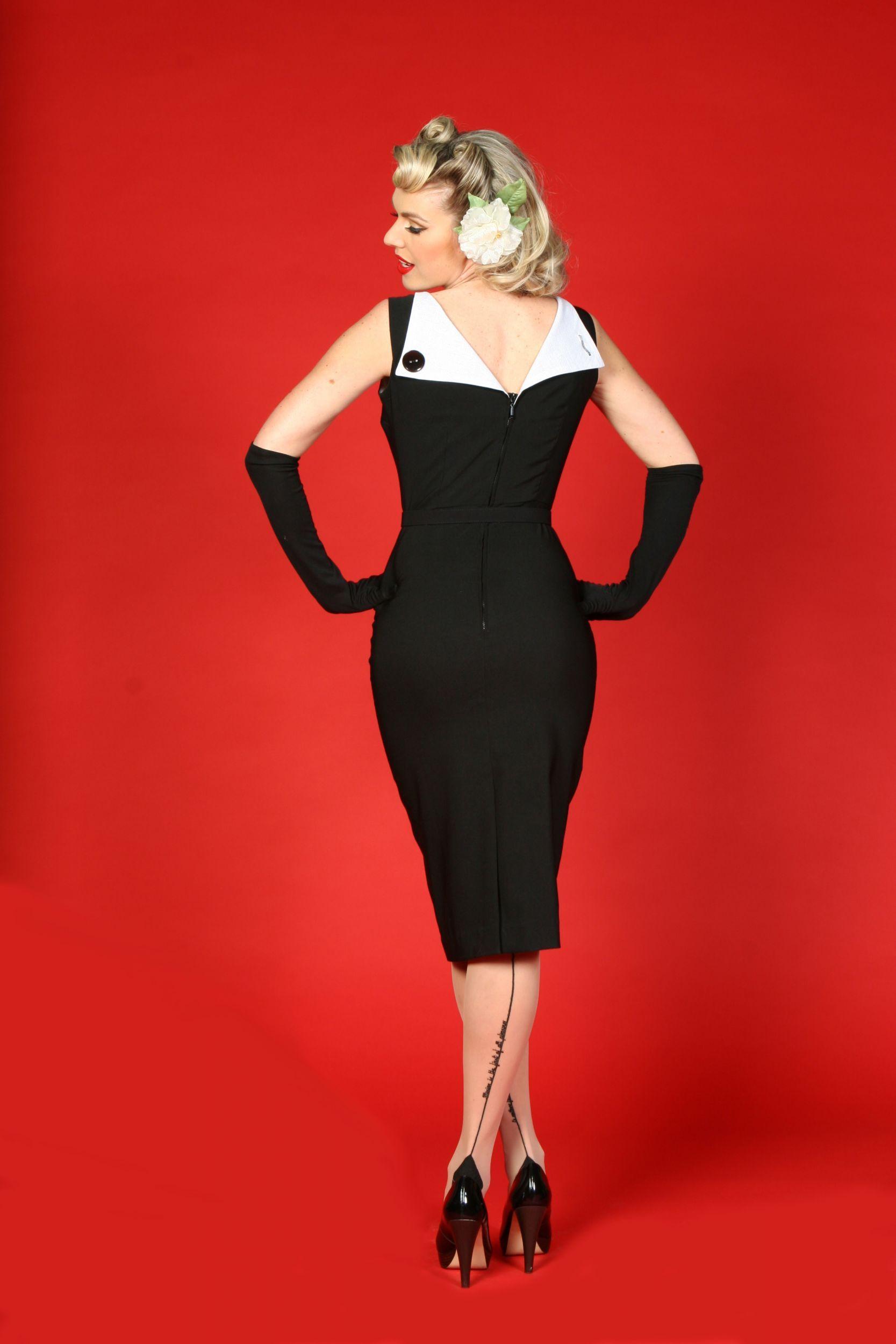 Sleeveless White Lined Black Bettie Page Wiggle Dress
