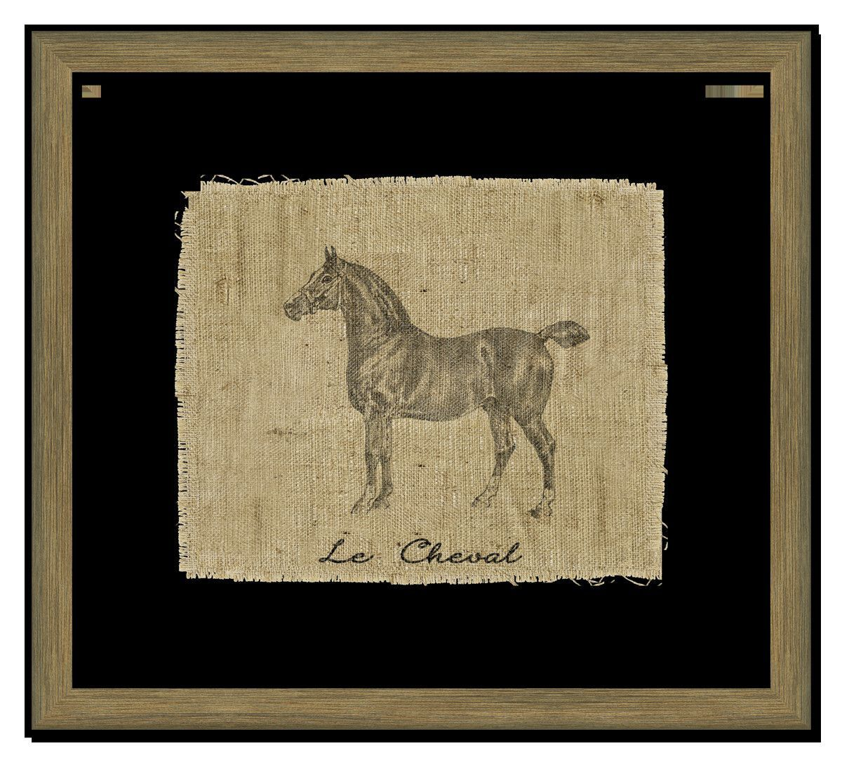 Horse on linen ii framed graphic art graphic art and products