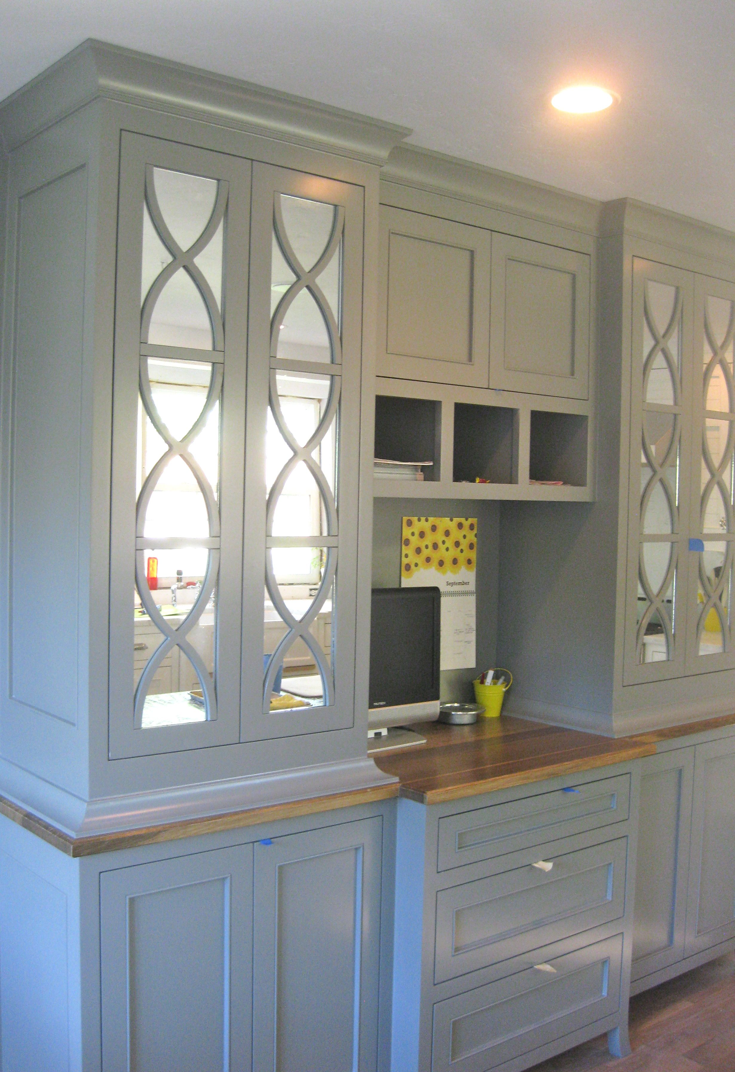 love this for a built in for our office mirrored kitchen cabinet mirrored cabinet doors on kitchen cabinets with glass doors on top id=18744