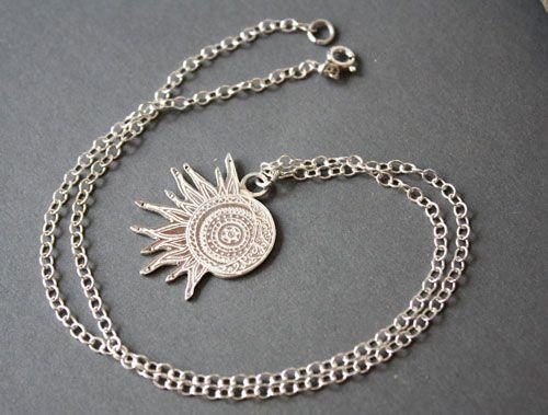 collier argent lune soleil