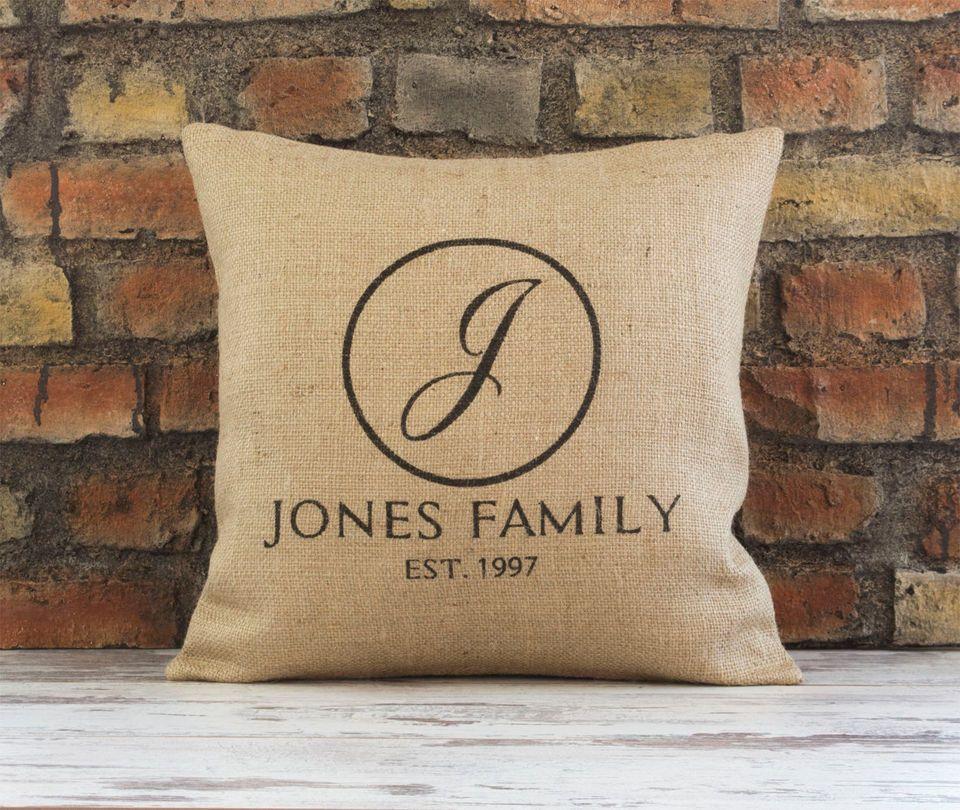 burlap pillow cover family name u0026 established date pillow initials monogram