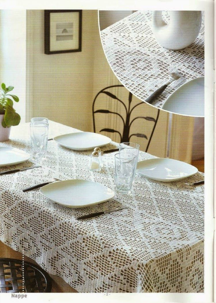 Crochet rectangular tablecloth crochet croch ganchillo y manteles - Manteles mesa rectangular ...