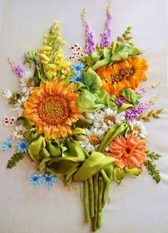 embroidered ribbons bouquet compliment handmade more ribbons art
