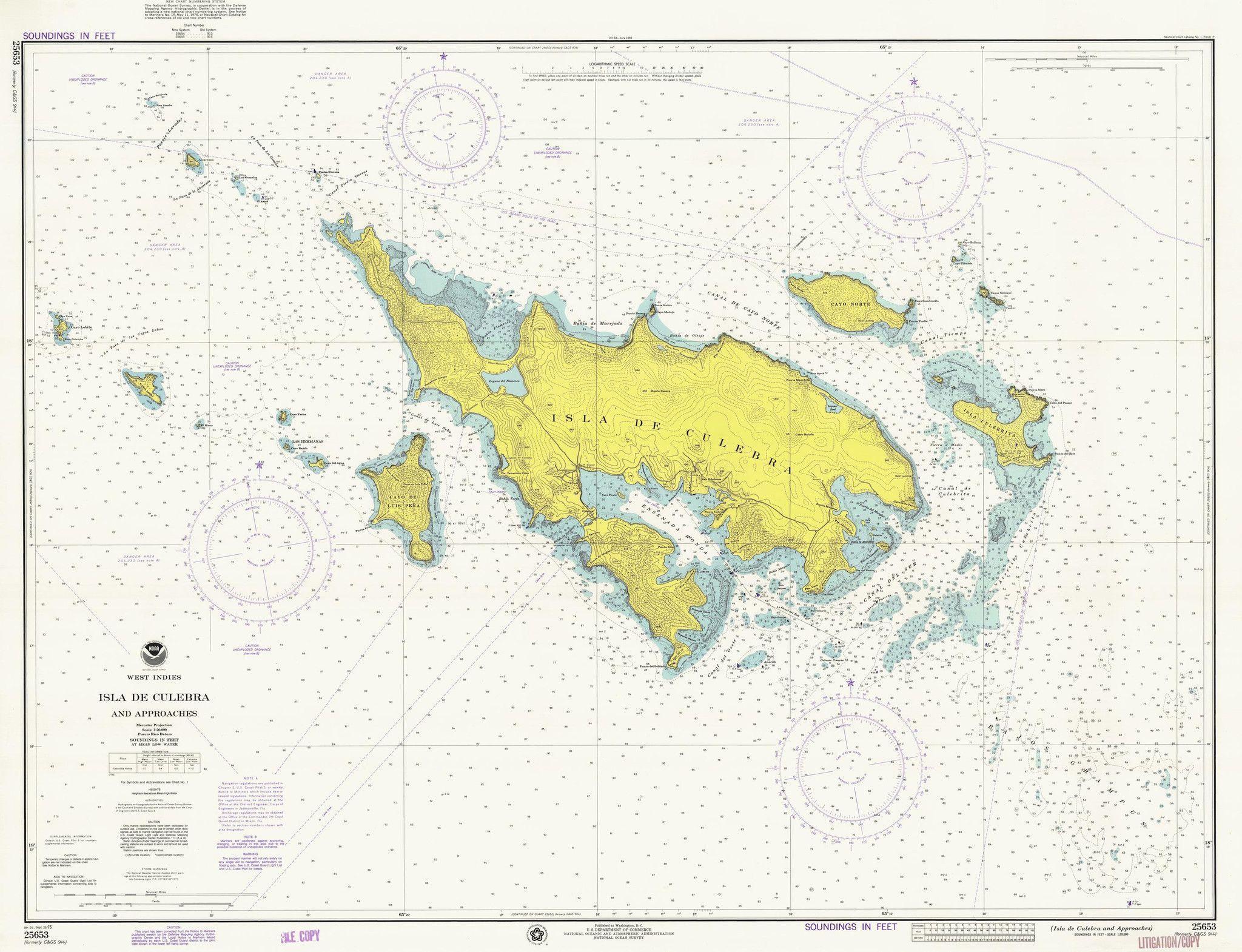 Culebra Island Map - 1976