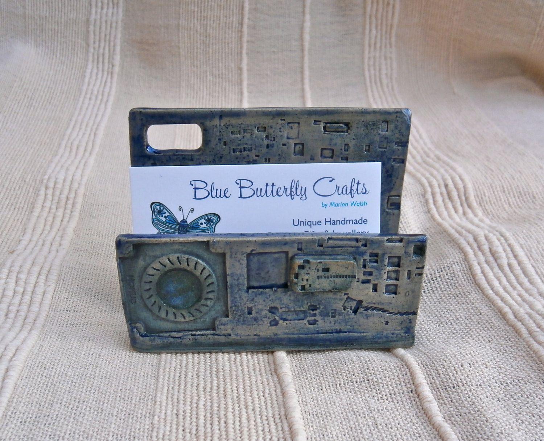 Blue business card holder - Ceramic cyberpunk card holder ...